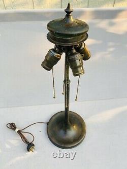 Unique Art Glass Lamp Base, Leaded, Slag Shade, Arts Crafts, Handel Lamp Era