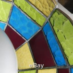 Unique Vintage Stained Glass Hanging / Light Fixture LAMP & SHADE / Slag Glass