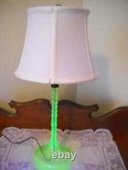 Unique Vintage Vaseline/Uranium Glass Candlestick Lamp with Shade