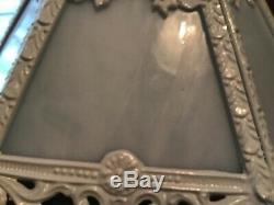 Unusual Vintage Heavy Cast Iron White Slag Glass Filigree Lamp Shade