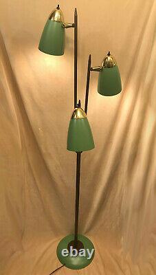 Unusual Vtg MCM Mid Century Modern 3 Light Adjustable Retro Green Floor Lamp