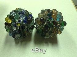 VINTAGE ART NOUVEAU CZECH GLASS GRAPE FRUIT FIGURAL LAMP SHADE PAIR 2 1/4 Fitter