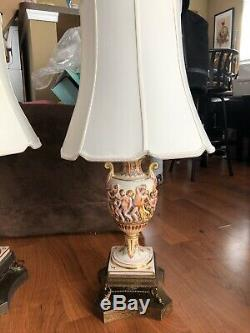 VINTAGE BEAUTIFUL PAIR OF RARE ITALIAN CAPODIMONTE LAMPS WITH NUDES With SHADES