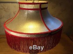 Vintage cloth lamp shade mid century modern retro fringe reglor vintage cloth lamp shade mid century modern retro fringe reglor majestic era aloadofball Choice Image