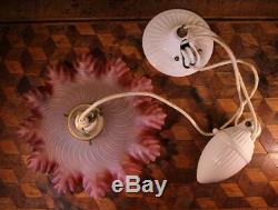VINTAGE Deco French Rise & Fall Pendant Light Frilly Cranberry Glass Lamp Shade