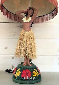 VINTAGE HAWAIIAN HULA GIRL LAMP With SHADE