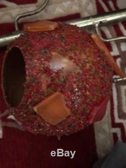 VINTAGE Rare Tension Pole Lamp 3 Globes crackle cut glass Shades popcorn