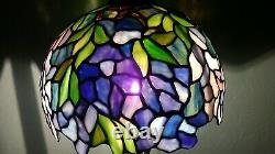 VINTAGE SLAG STAINED GLASS LAMP SHADE 10' TIFFANY STYLE Read Description