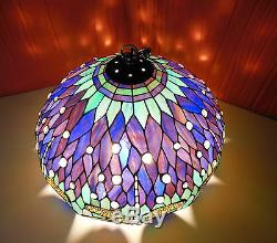 VINTAGE TIFFANY STYLE STAINED GLASS LIGHT FIXTURE SWAG HANGING LAMP SHADE