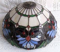 Lamp Shades Tiffany Style: VINTAGE TIFFANY STYLE STAINED GLASS OWL LAMP SHADE #333,Lighting