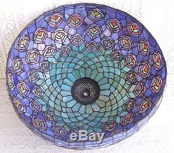 Vintage Tiffany Style Stained Glass Peacock Lamp Shade
