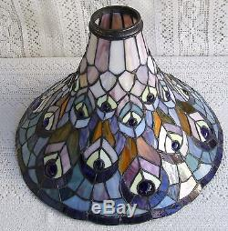 Vintage Tiffany Style Torchiere Stained Gl Lamp Shade 321