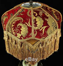 Vintage Victorian Lamp Shade Red Gold Chenille Fabric With Silk Stunning