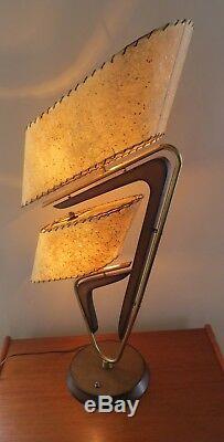 VTG. 1950's MAJESTIC Z TABLE LAMP ORIGINAL FIBERGLASS SHADES MCM 35 FAB