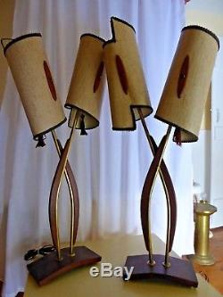 VTG 1950's Pair Teak and Brass Lamps with Original Mid Century Modern Shades
