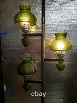 VTG 1960s TENSION POLE LAMP GREEN RIBBED GLASS SHADE HURRICANE STYLE LIGHT