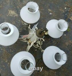 VTG 5 Light White & Brass Chandelier Milk Glass Globes LIGHT lamp shades
