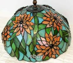 VTG 80/90s Dale Tiffany 16 Stained Glass Lamp Shade 3D Red Flower Poinsettia