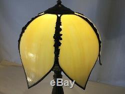 VTG ANTIQUE 6 PANEL Carmel SLAG GLASS LAMP SHADE GLOBE TULIP SHAPED
