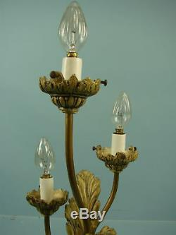 VTG Antique 3 Light Metal Table Lamp Glass Shades Hollywood 1930's WORKS