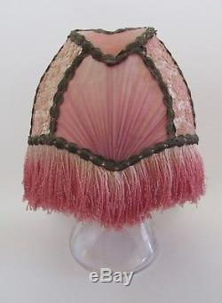 VTG Art Deco/Nouveau Pink Silk Fringed Clip on Lampshade