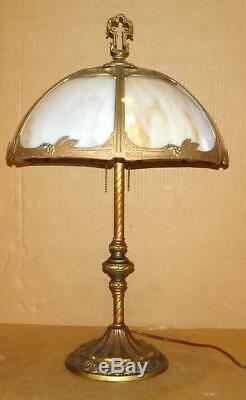 VTG Art Deco Table Lamp Antique Slag Glass Lamp with Shade Original Gold Finish