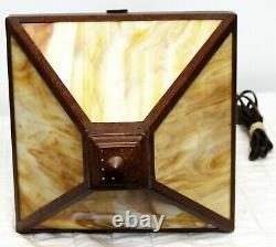 VTG Arts & Crafts Style Brown Table Lamp with Slag Glass Shade Heavy Metal Base
