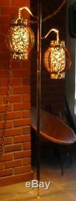 VTG Atomic MCM Starlite Tension Pole Lamp Orange Turquoise Gold Birdcage Shades