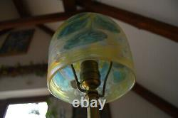 VTG Bohemian ART NOVUEAU 1920's Lamp with Loetz Iridescent Glass Shade