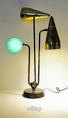 VTG Gold Tin Punch 3 Shades Table Lamp Mid Century Space Age Underwriters Lab