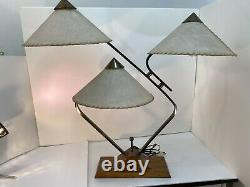 VTG MCM Majestic 3 shade Table Lamp Mid Century Modern Brass Wood 1940s 1950s