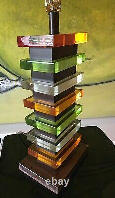 VTG MCM Stacked Multicolor Lucite Skyscraper Table Lamp withVenetian Shade WOW