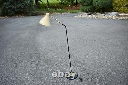 VTG MCM floor lamp 50's 60's goose neck fiberglass bullet cone shade
