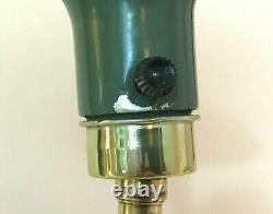 VTG Mid Century Atomic Flying Saucer Green Shade Brass Floor Reading Lamp 47'