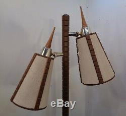 VTG Mid Century Danish Modern 2 Light Floor Lamp Fiberglass Fabric Shades Retro