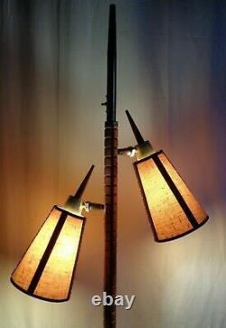VTG Mid Century Danish Modern Rocket Style Floor Lamp Fabric Shades Retro Nice