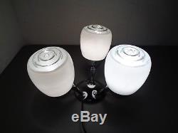VTG Mid Century Modern Ceiling Lamp Light Wall Sconce Glass Bullet Shades Chrome