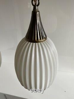 VTG Mid Century Swag Lights Pendant Lamps MCM White Glass Shade