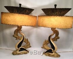 VTG PAIR Mid-Century Continental Art Co Log Leaf Retro Lamps / Fiberglass Shades
