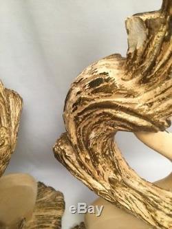 VTG PAIR Mid-Century Continental Art Co Log Leaf Retro Lamps / Fiberglass Shades
