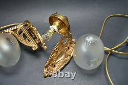 VTG Pair of Bohemian ART NOUVEAU 1920's Wall Lamps Hand Cut Glass Shades