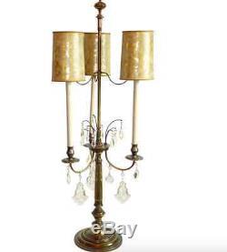 Vtg Stiffel Bouillotte Crystal Prism Table Lamp Orig Faux Tortoise