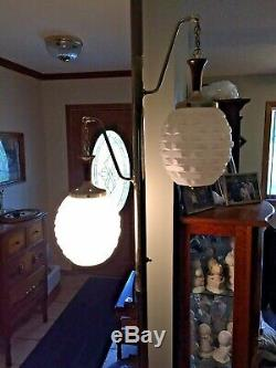 VTG Tension Pole Lamp Floor to Ceiling Milk Glass Weave Look Shades