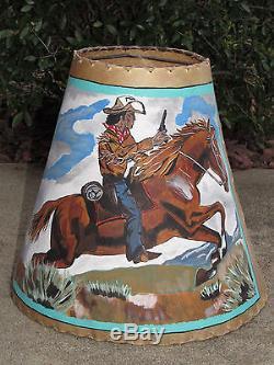 Vtg unique ooak painted animal hide lamp shade cowboy on horse vtg unique ooak painted animal hide lamp shade cowboy on horse signed roy boy mozeypictures Gallery