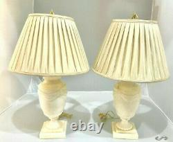 Very Heavy Pair of Vintage Alabaster Table Lamps With Shades