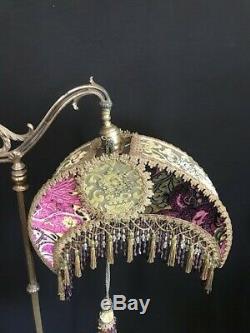 Victorian Crescent Bridge Lamp Shade, Vintage, Olive Green, Purple Fuchsia