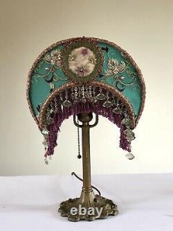 Victorian Crescent Moon Lamp Shade &Art Nouveau Base HAND SEWN Beaded Fringe vtg