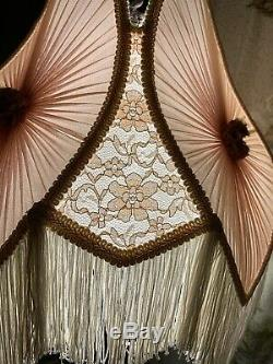 Victorian Style Vintage Tulip Silk Lamp Shade With Fringe (2 Available) LARGE