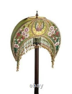 Victorian Trading Embroidered Beaded Madame Butterfly Green Crescent Lampshade