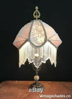 Victorian Vintage Blush Table Lampshade, Art Nouveau Silk Lamp Shade